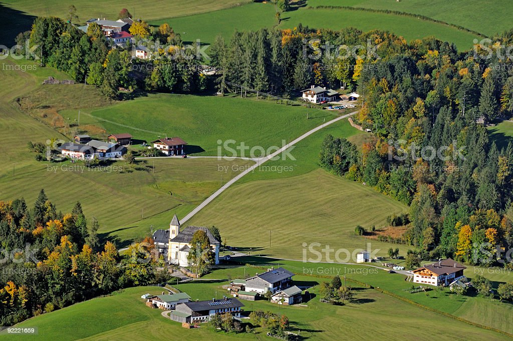 Lovely alpine countryside village dairy farms aerial view royalty-free stock photo