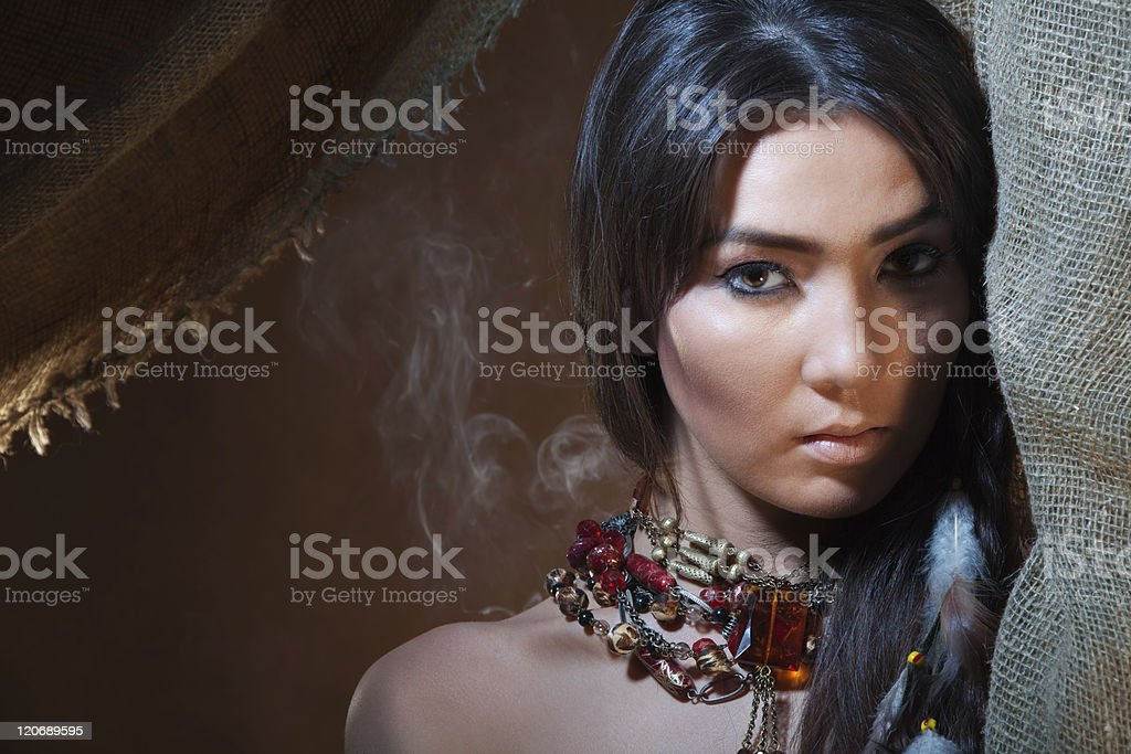 Lovely and passionate look of American Indian girl stock photo