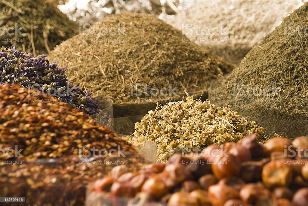 Lovely Arabic spices for sale at the souq or market stock photo