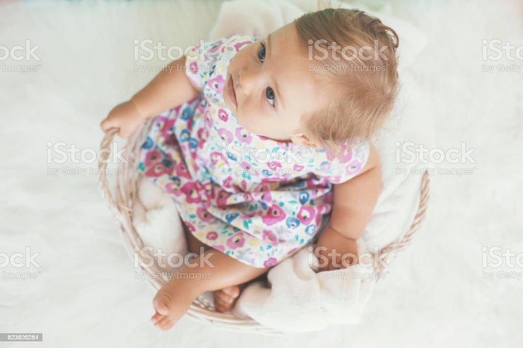 Lovely baby girl in basket stock photo