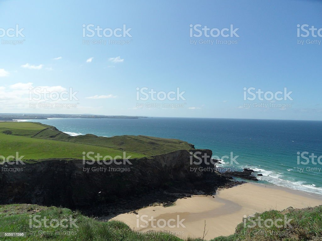 lovely beach of watergate bay in Cornwall England stock photo