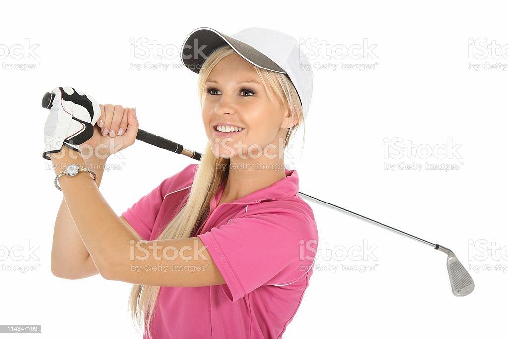 Lovely Blond Golf Woman stock photo