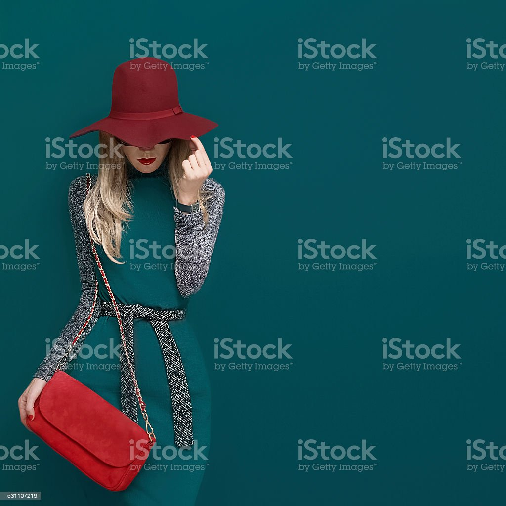 Lovely blond model in fashionable red hat stock photo