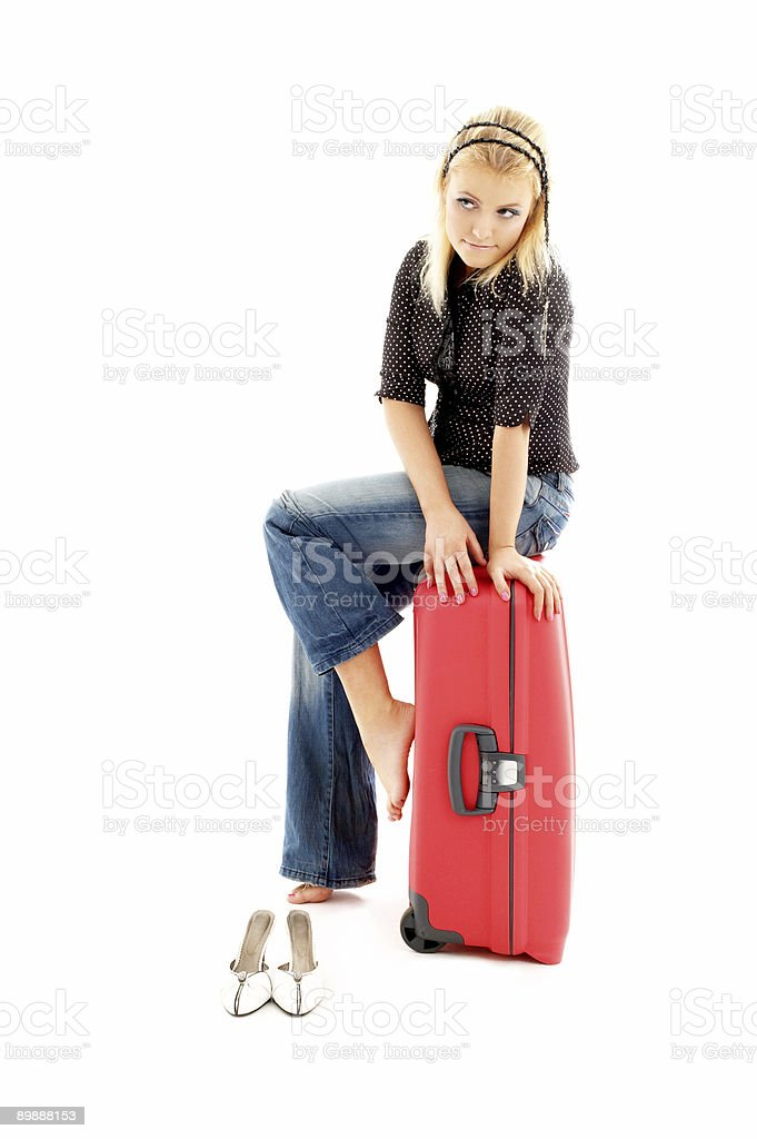 lovely blond with red suitcase royalty-free stock photo