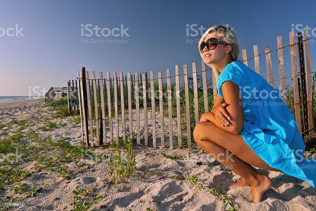 lovely blonde by beach dune fence stock photo