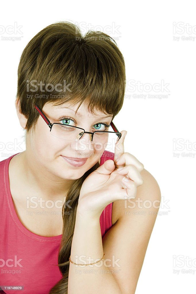 Lovely blue-eyed girl with glasses stock photo