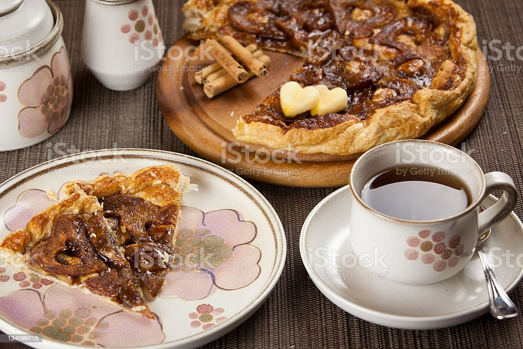 Lovely breakfast coffee and apple tart royalty-free stock photo