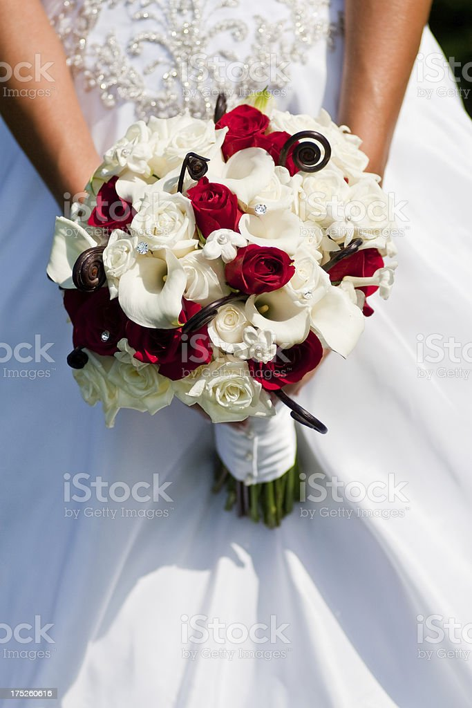 Lovely Bridal Bouquet Roses and Calla Lilies on Wedding Day royalty-free stock photo