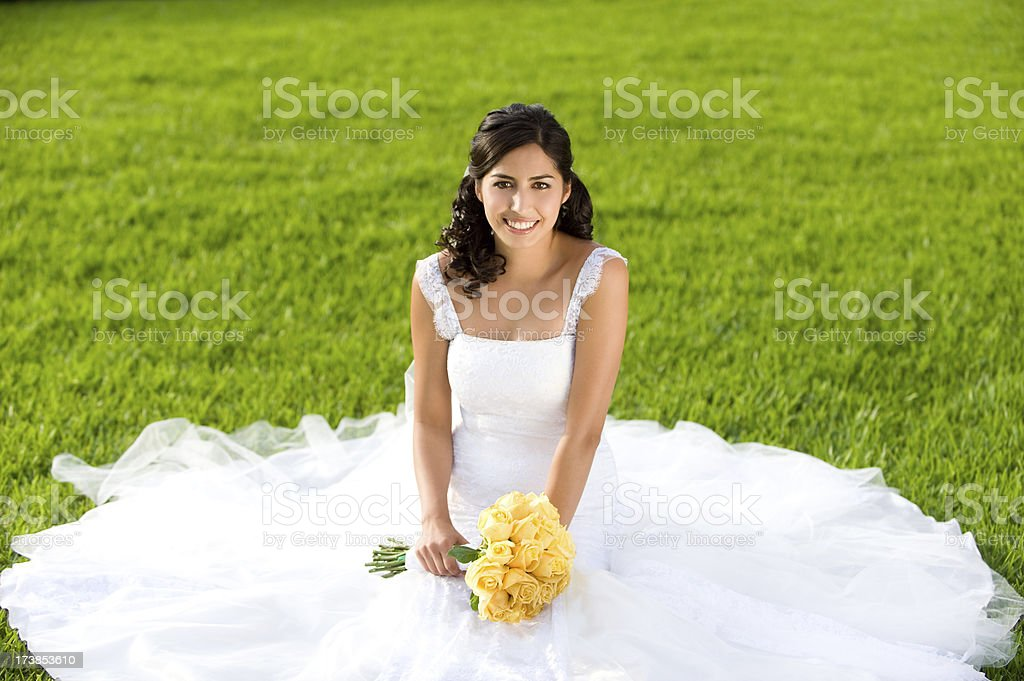 Lovely bride in nature royalty-free stock photo