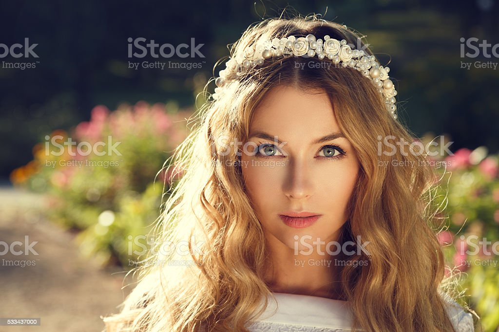 Lovely Bride on Nature Background stock photo