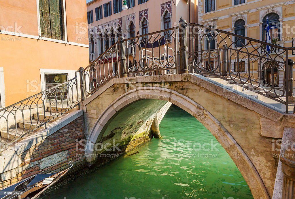 Lovely bridge on the canal of Venice stock photo
