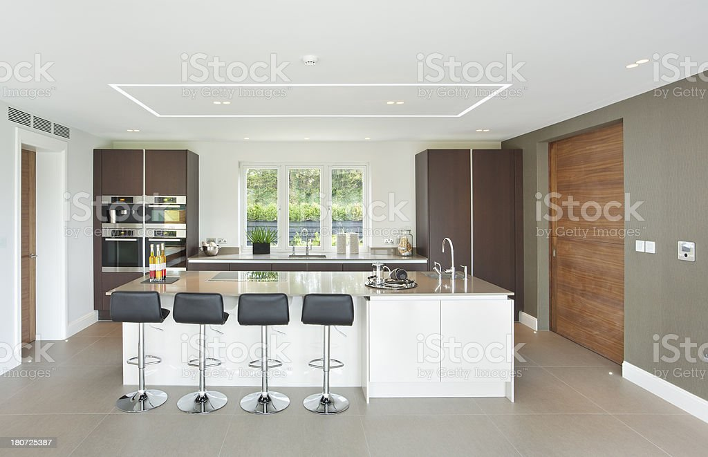 lovely bright and large kitchen. stock photo
