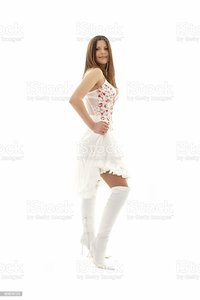 lovely brunette in high boots royalty-free stock photo