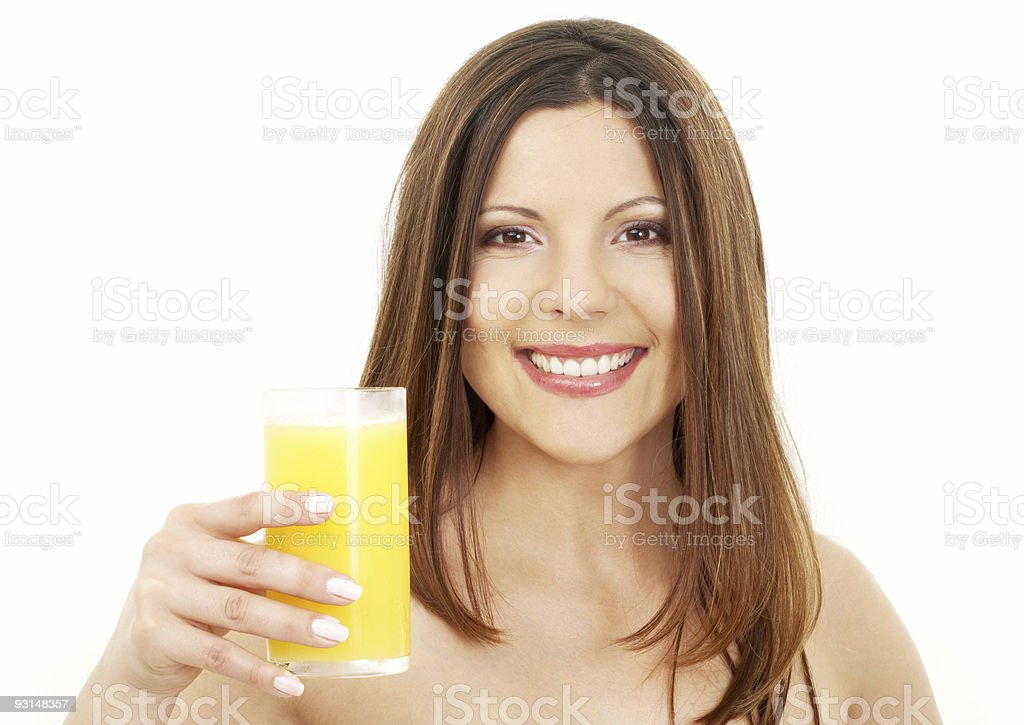 lovely brunette with glass of juice royalty-free stock photo