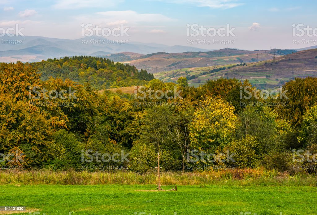 lovely Carpathian countryside in mountains stock photo