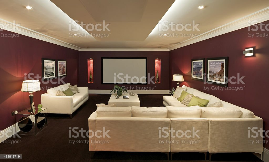 lovely cinema room stock photo