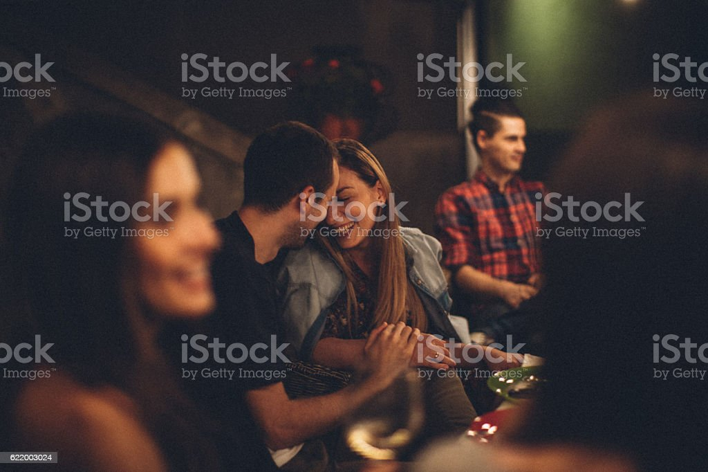 Lovely couple at the party stock photo