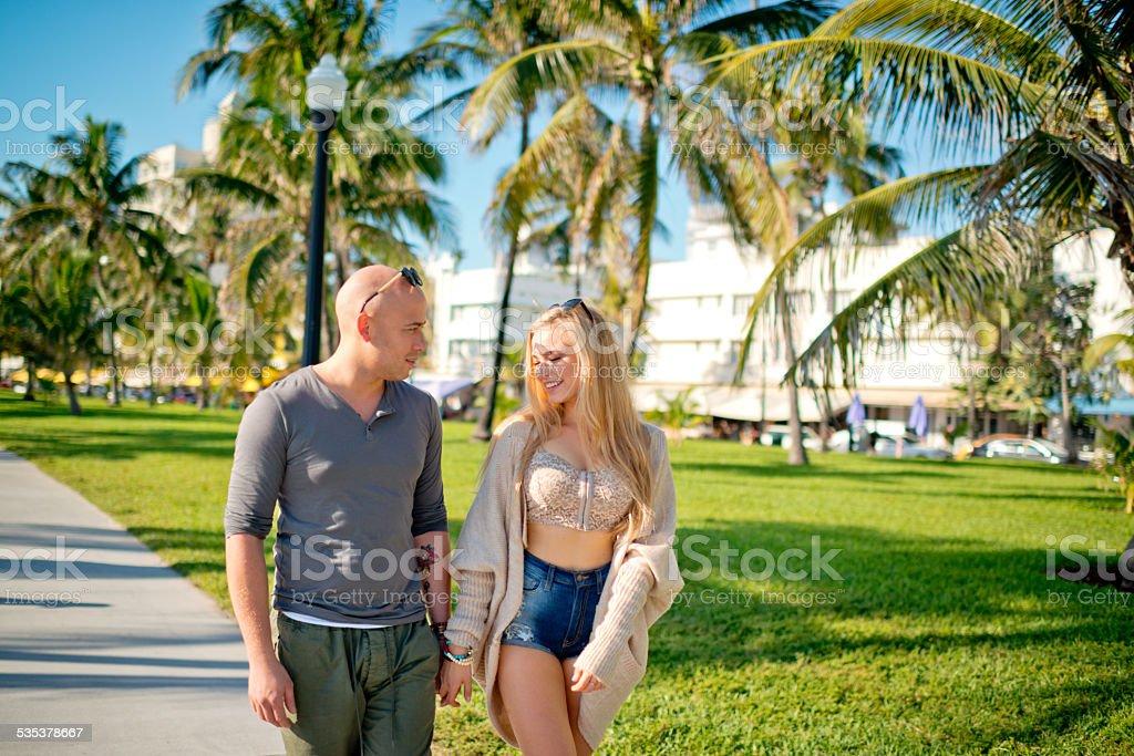 Lovely couple enjoying vacations in Miami Beach stock photo