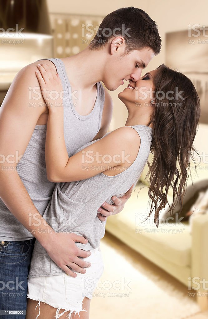Lovely couple kissing royalty-free stock photo