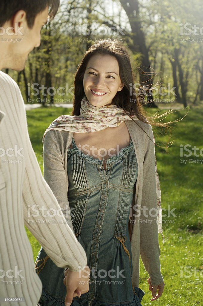 lovely couple walking in park royalty-free stock photo