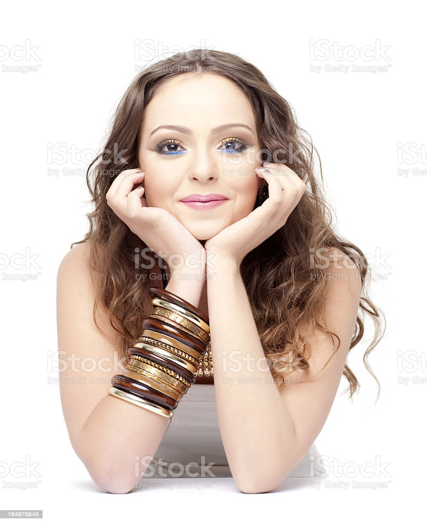 Lovely cute lady holding back a smile stock photo