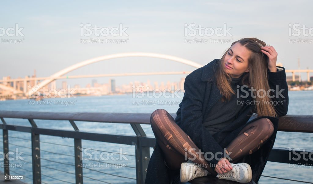 Lovely day by the river stock photo