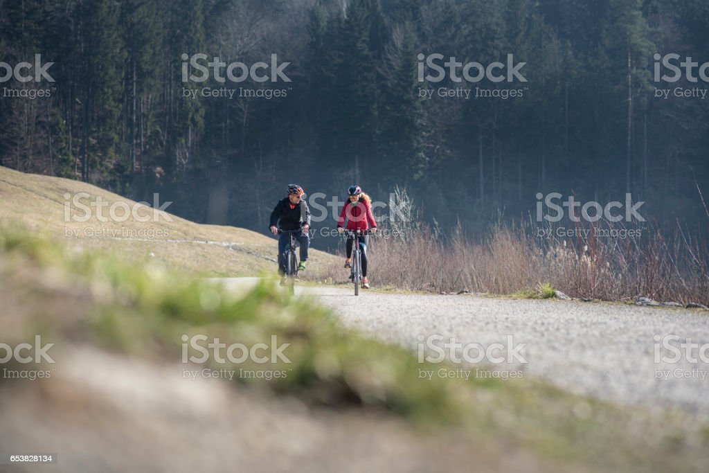 A lovely day for bicycling stock photo