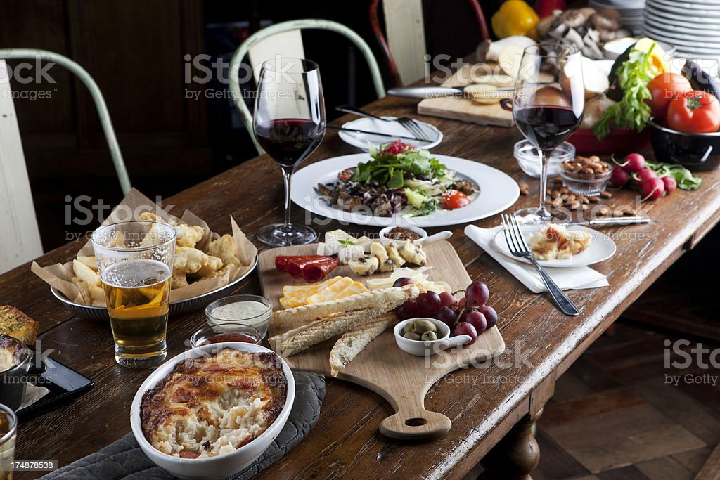 lovely dinner with freiends royalty-free stock photo