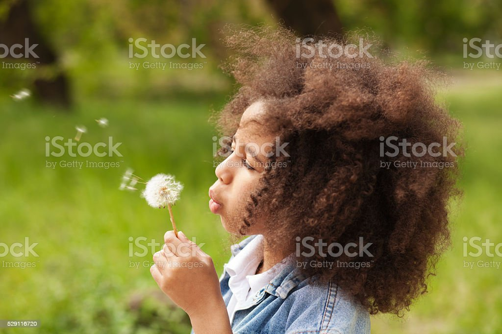Lovely girl blowing on a dandelion stock photo