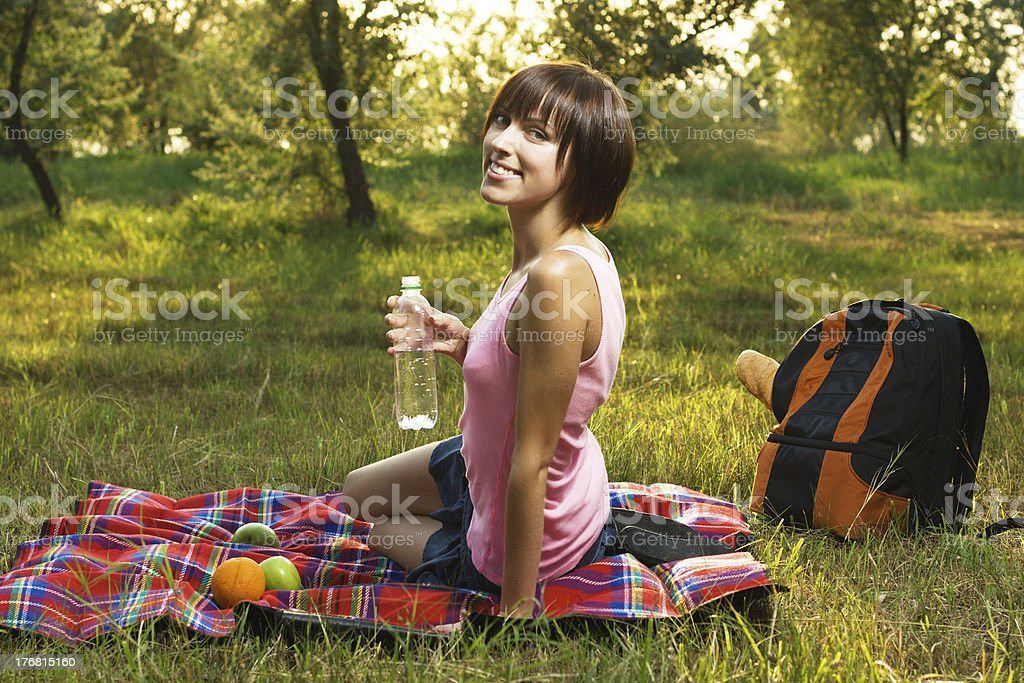 Lovely girl on picnic royalty-free stock photo
