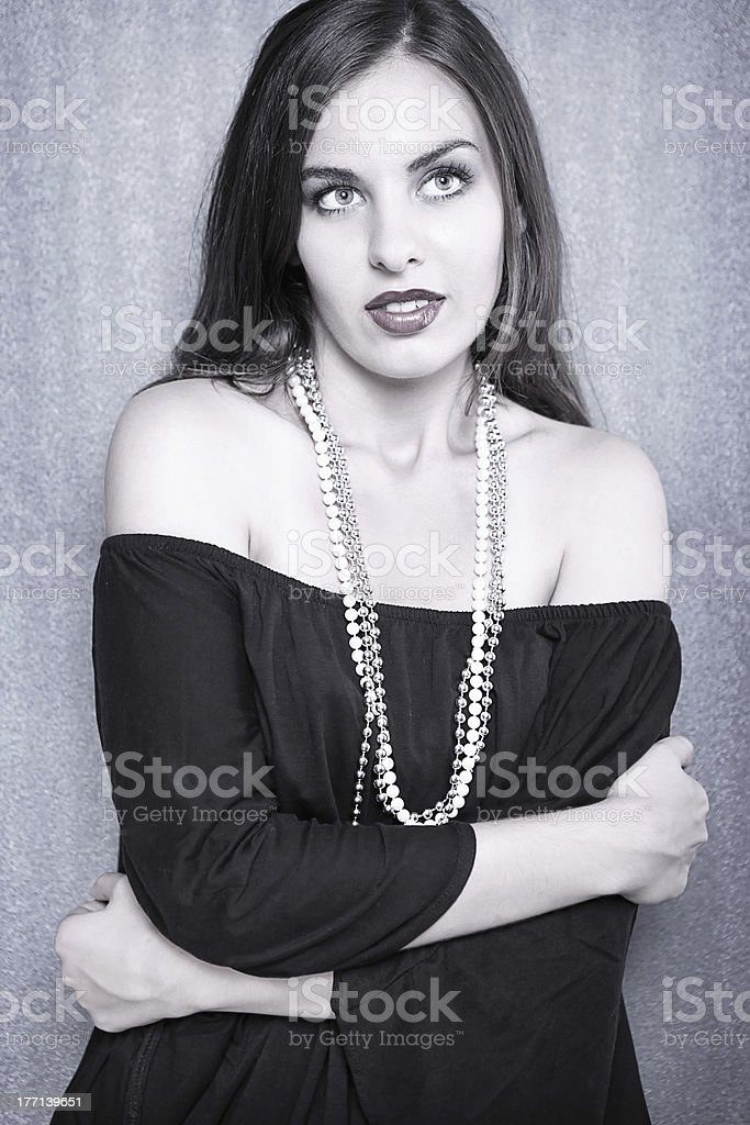 lovely girl with pearls royalty-free stock photo