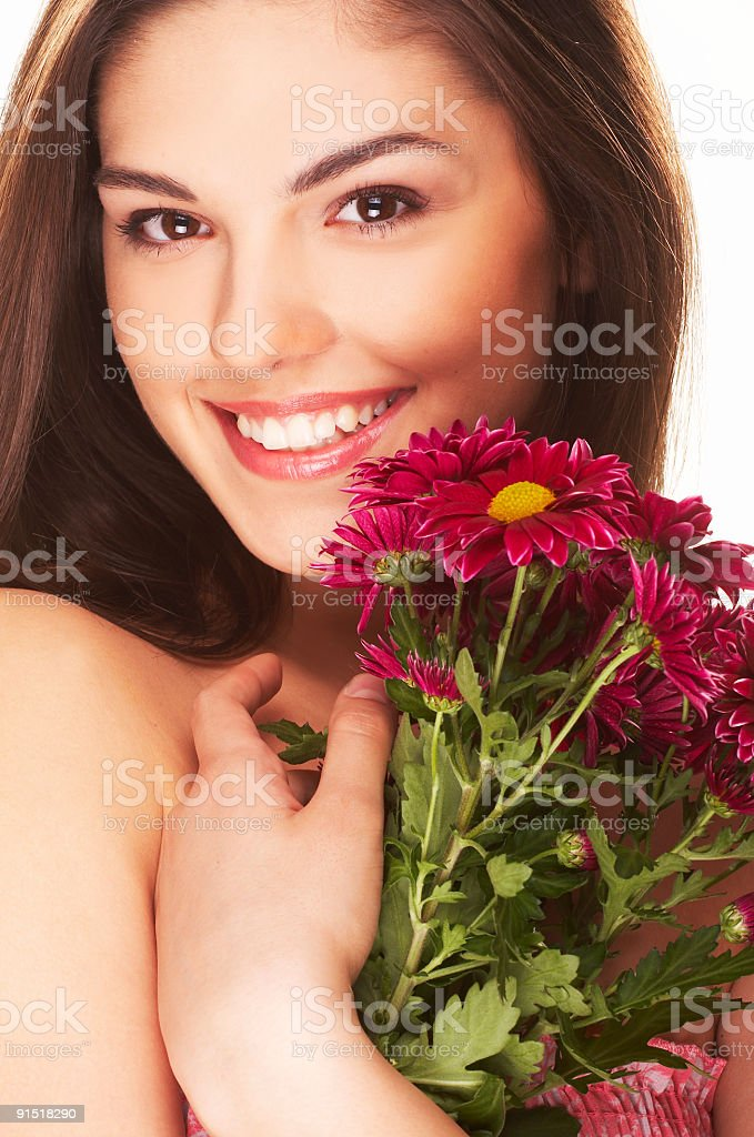lovely girl with red flower royalty-free stock photo
