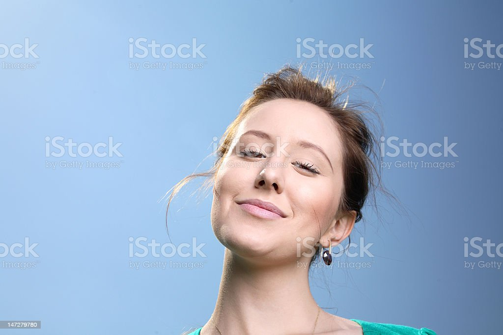Lovely girl with sky background. stock photo