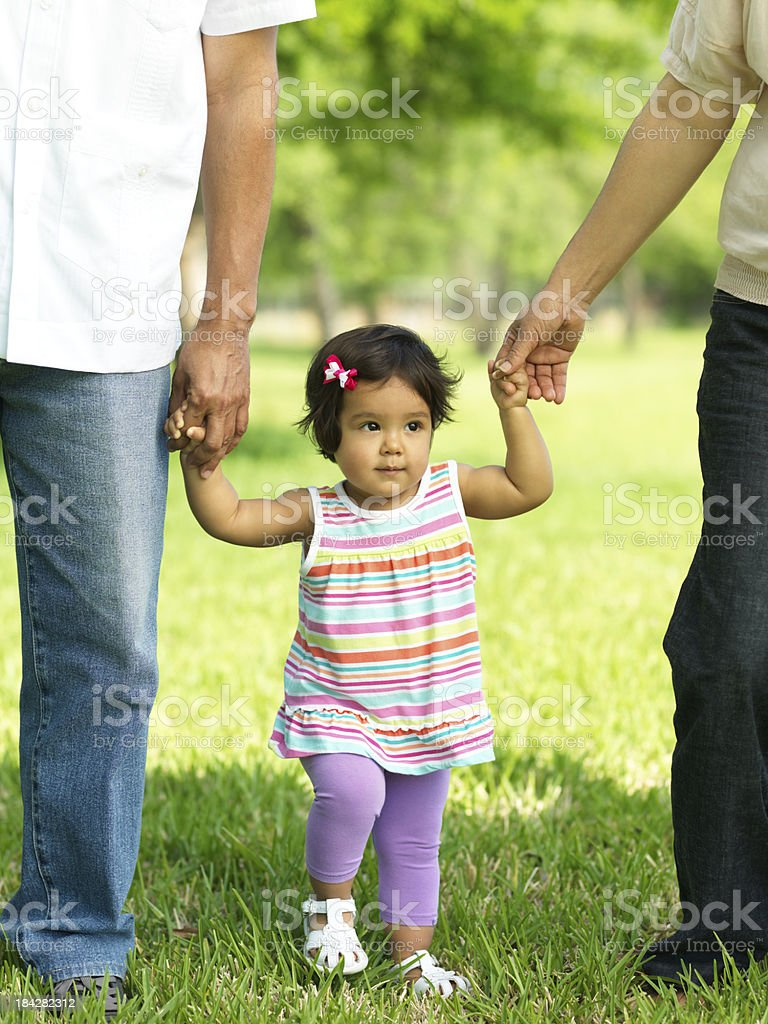Lovely granddaughter walking royalty-free stock photo