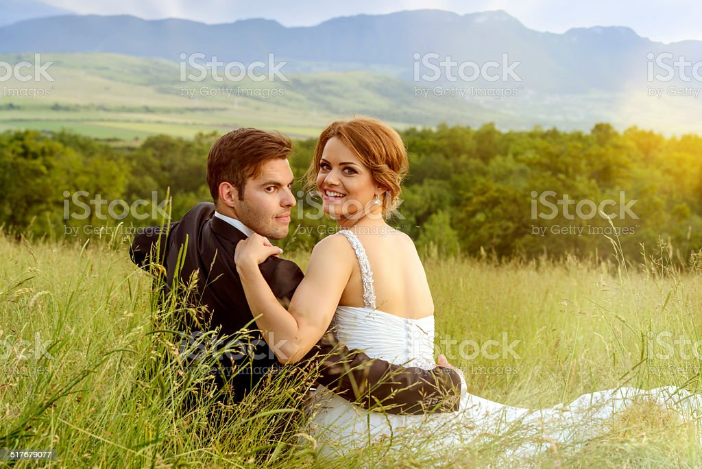 lovely grooms stock photo