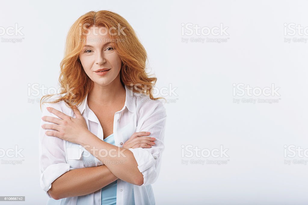 Lovely lady expressing positive emotions stock photo