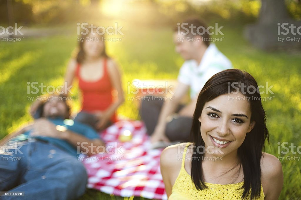 Lovely latin woman at a picnic royalty-free stock photo