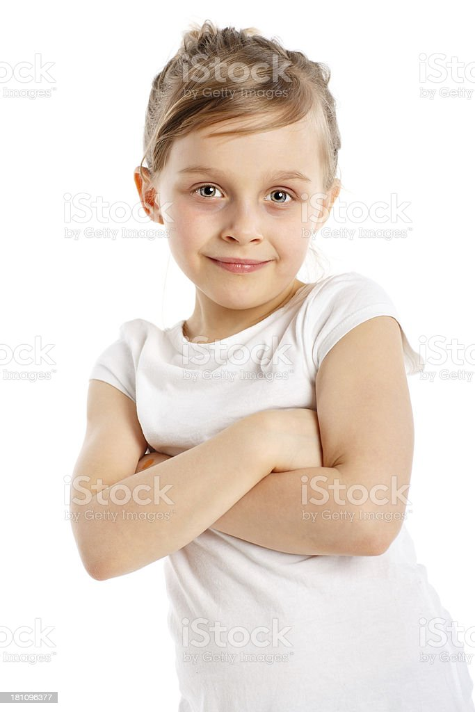 Lovely little girl isolated on white royalty-free stock photo