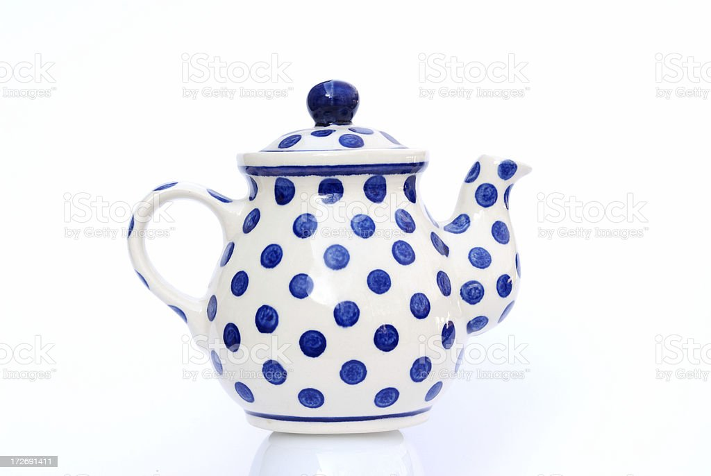 Lovely little Teapot, white with blue polka dots stock photo
