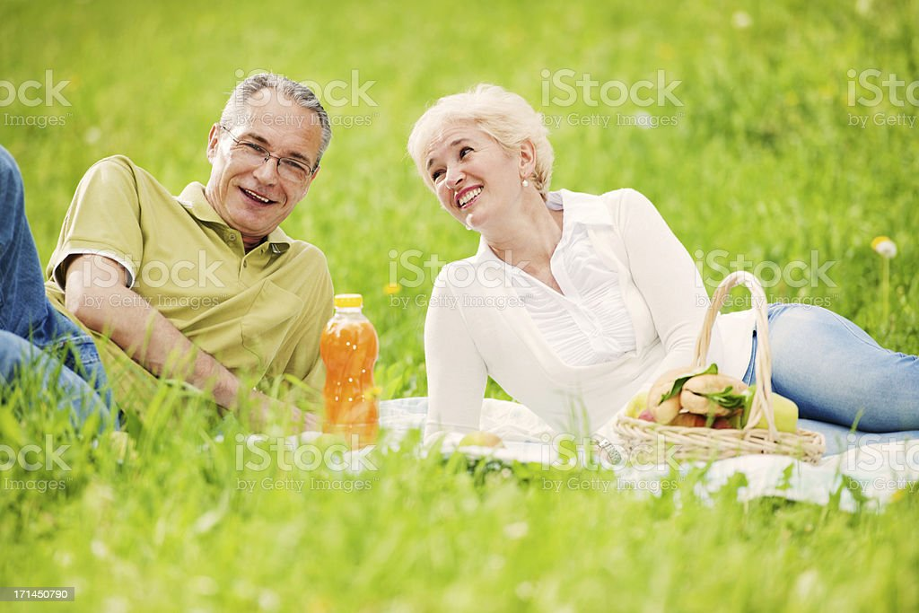 Lovely mature couple having a picnic in park royalty-free stock photo