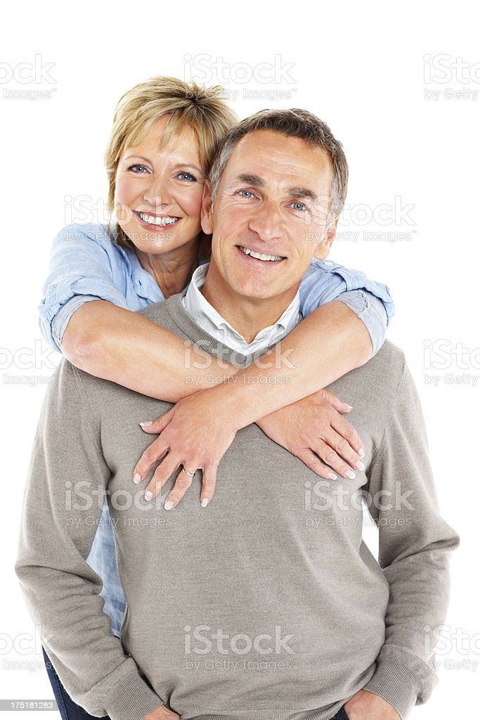 Lovely mature couple on white background royalty-free stock photo