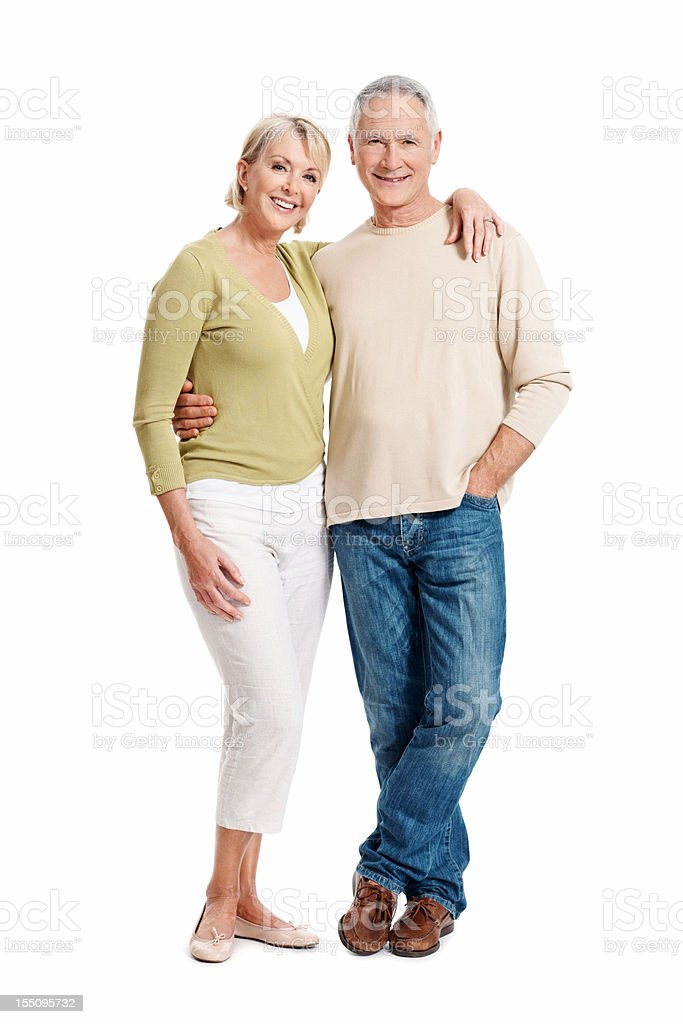 Lovely mature couple smiling at you royalty-free stock photo