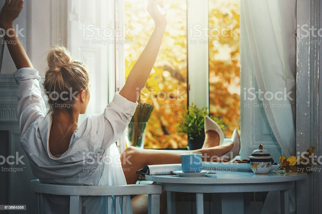 Lovely morning after crazy night out. stock photo