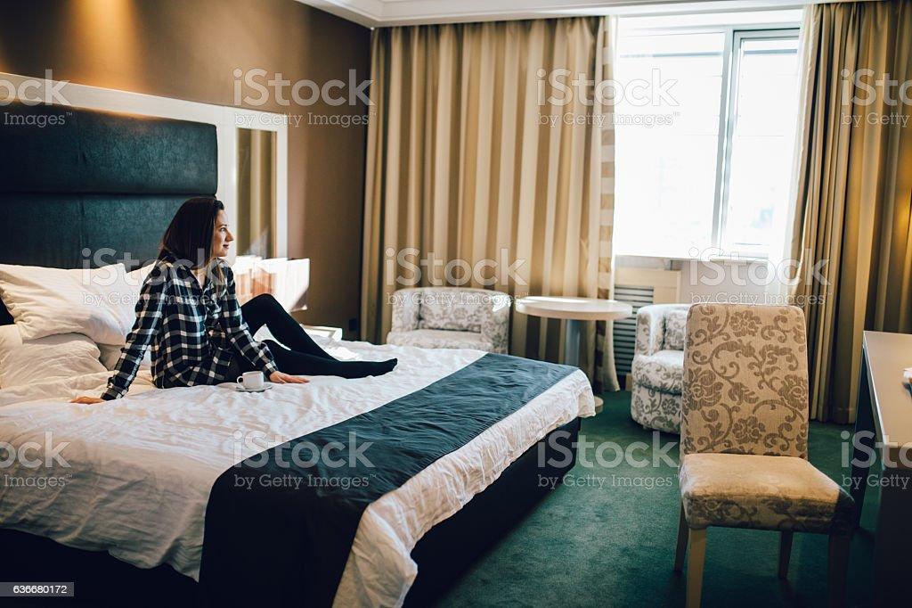 Lovely morning in hotel stock photo