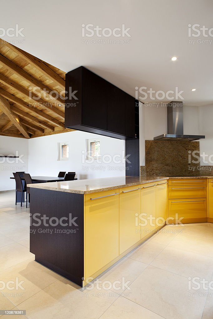 lovely new house, modern furniture, kitchen view royalty-free stock photo