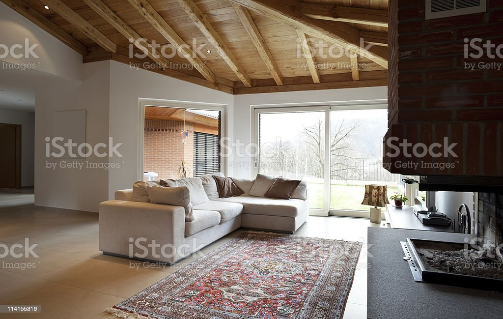 lovely new house, modern furniture, living-room view royalty-free stock photo