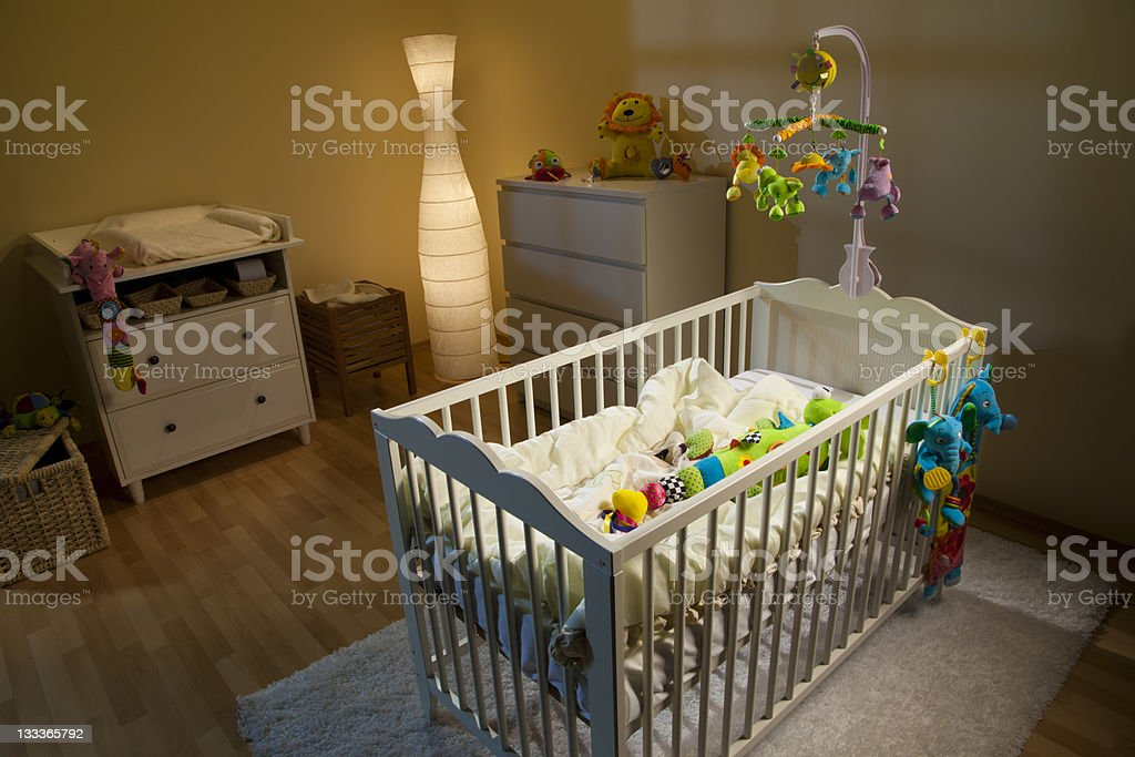 Lovely Nursery Room At Night stock photo