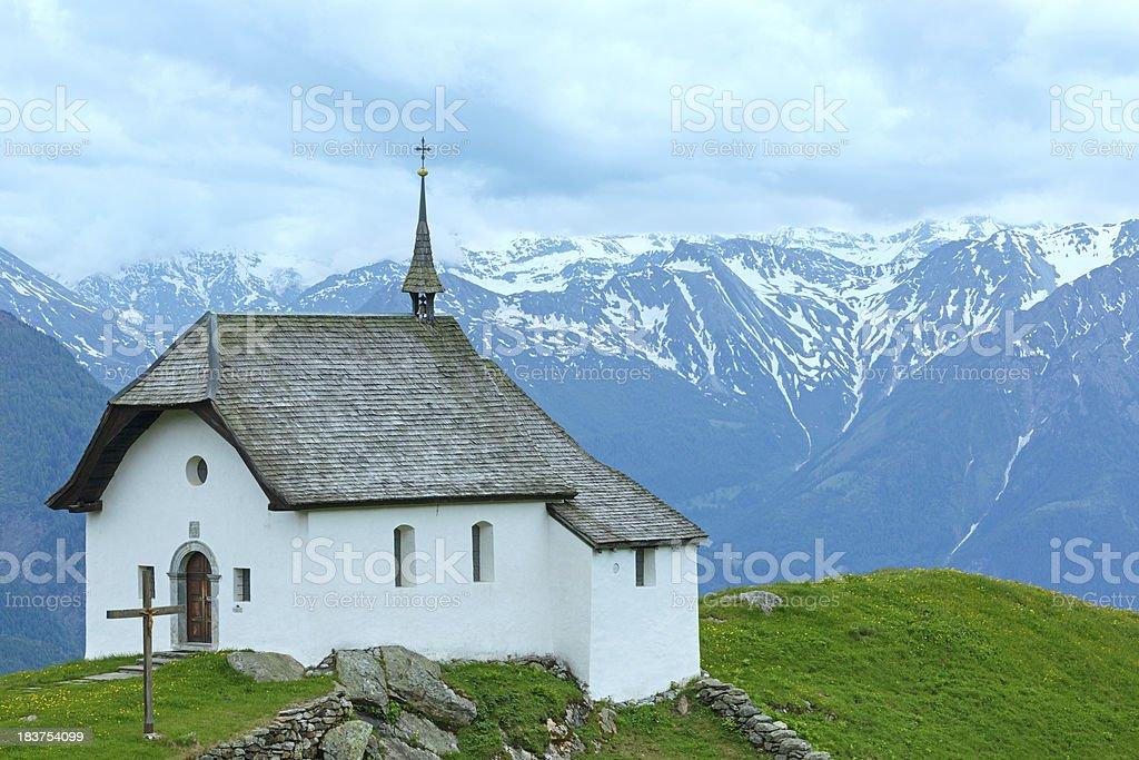 Lovely old Mountain Church in Village of Bettmeralp (Switzerland) stock photo