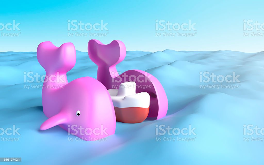 Lovely pink whale have a boat inside stock photo
