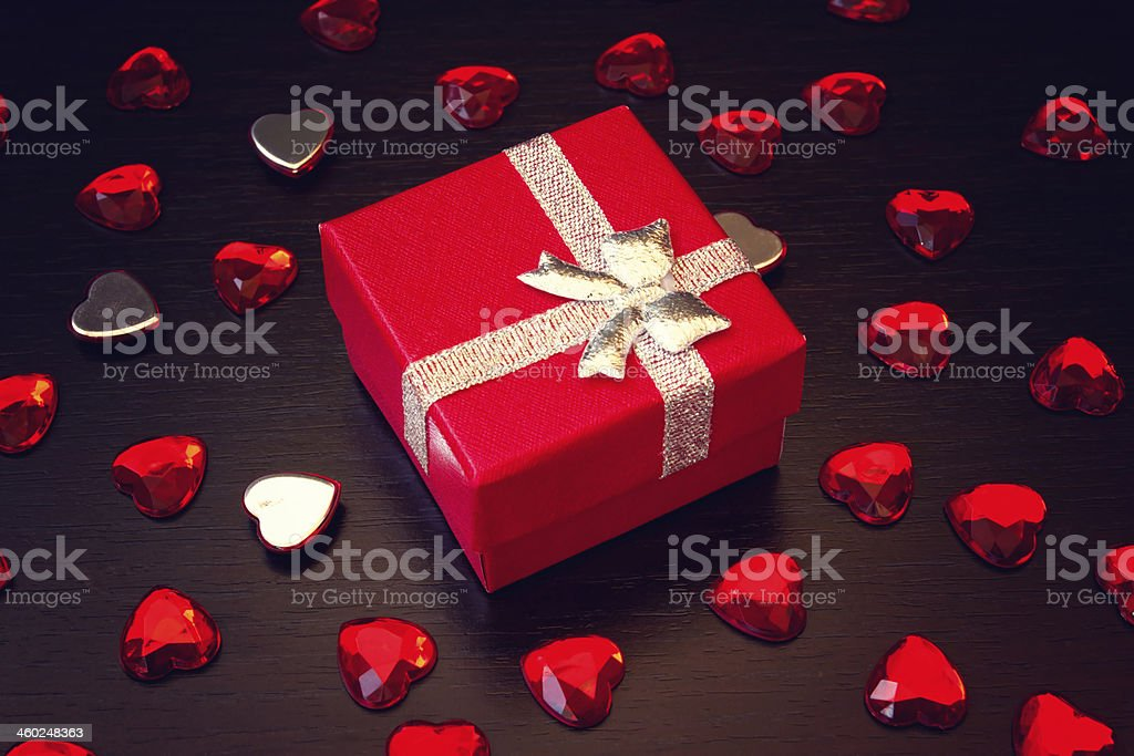 lovely red gift box for valentine's day royalty-free stock photo
